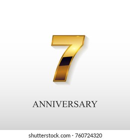 7 Years Golden Anniversary Vector Logo Design Isolated on White Background