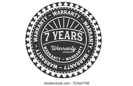 7 years warranty icon vintage rubber stamp guarantee