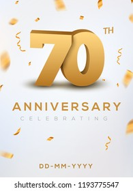 70 Anniversary gold numbers with golden confetti. Celebration 70th anniversary event party template.