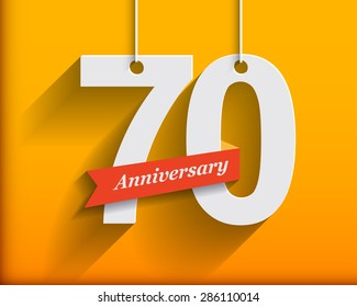 70 Anniversary numbers with ribbon. Flat origami style with long shadow. Vector illustration