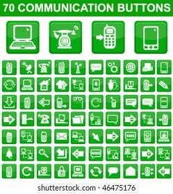 70 Communication Square Buttons Set