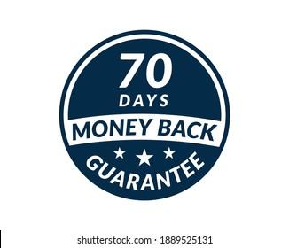 70 day money back guarantee label. 70 Days Money Back Guarantee Icon