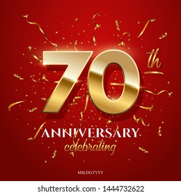 70 golden numbers and Anniversary Celebrating text with golden serpentine and confetti on red background. Vector seventieth anniversary celebration event square template