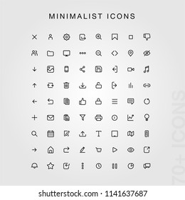 70+ Minimal UI icon set.  (black version). Modern simple minimal, flat, solid, mono, monochrome, plain, contemporary style. Vector illustration web internet design elements in eps