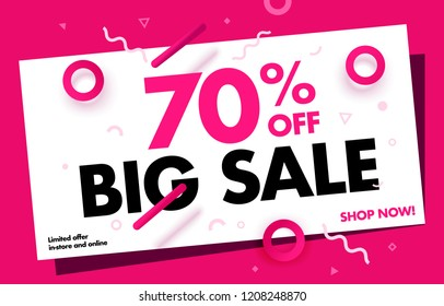 70% OFF Big Sale Discount Banner. Special offer promo campaign ad coupon. Mega Sale up to 70% Off Trendy Pink Color Design Template. Vector Illustration. EPS 10.