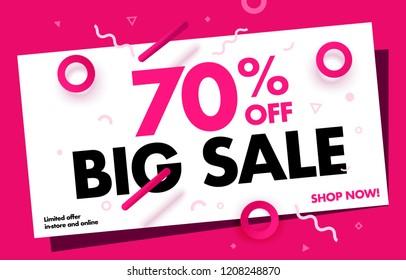 70% OFF Big Sale Discount Banner. Special offer promo campaign ad coupon. Mega Sale up to 70% Off Trendy Pink Color Design Template. Vector Illustration. EPS 10.