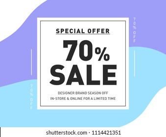70% OFF Discount Special Offer Campaign. Creative Design Template for Newsletter, Banner, Coupon, Flyer. Vector Set of Pastel Colors Sale Stickers. Promo Discount Holiday Sale offer.