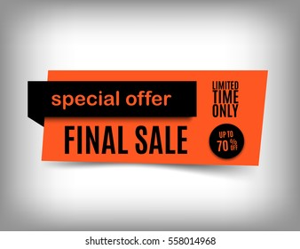 70% Off sale banner design. Trendy orange discount poster. Orange Special offer tag. Vector illustration, eps 10.