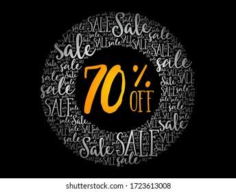 70 % RABATT-KURSVERKAUF, Cloud-Collage, Hintergrund des Unternehmenskonzepts