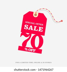 70% OFF SALE Price Tag. Special Offer Discount Web Banner Design Template. 70% Sale Limited Time Online and in Stores Promo Marketing Campaign Message Vector Design Illustration.