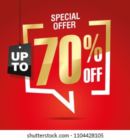 70 percent off sale isolated gold red sticker icon
