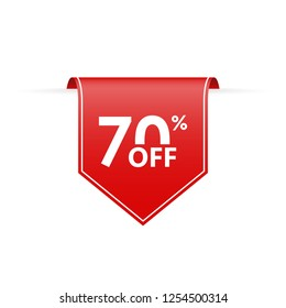 70 percent off. Sale tag ribbon or pennant. Price off and discount badge. Vector illustration.
