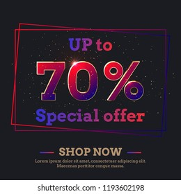 Up to 70 Percent Sale Background. Colorful trendy gradient numbers. Lettering - Special offer, Shop now. Dark illustration for Black Friday and other holiday discount actions