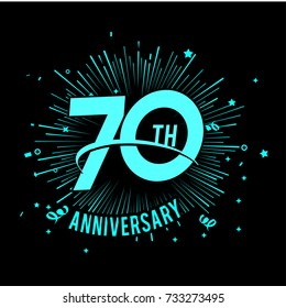 70 th anniversary logo with firework background. glow in the dark design concept