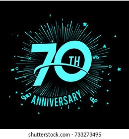 70 th anniversary logo with firework background. glow in the dark design concept