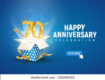 70 th years anniversary banner with open burst gift box. Template seventieth birthday celebration and abstract text on blue background vector illustration