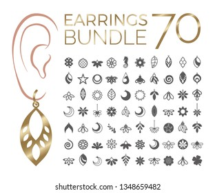 70 vector designs of earring. Cutout silhouette with floral pattern. Template is suitable for creating fashion & charm jewellery: earrings, necklace or bracelet.
