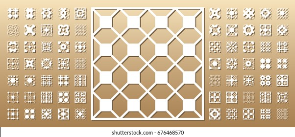 70+ vector panels. Cutout silhouette with arabic (girih geometric)  pattern. A picture suitable for printing invitations, laser cutting (engraving) stencil, wood and metal decorations.