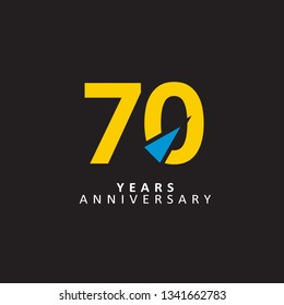 70 Year Anniversary Vector Template Design Illustration, with flat design.