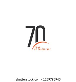 70 Year of Excellence Vector Template Design Illustration
