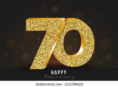 70 - year happy anniversary banner. 70th anniversary gold logo on dark background.