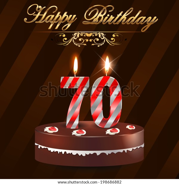 70 Year Happy Birthday Card Cake Stock Vektorgrafik Lizenzfrei