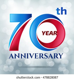 70 years anniversary with bokeh lights in background.-vector illustration