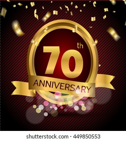 70 years anniversary celebration with Abstract background with many falling gold tiny confetti pieces.