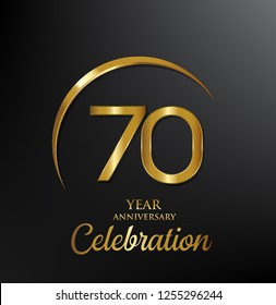 70 years anniversary celebration. Anniversary logo with swoosh and elegance golden color isolated on black background, vector design for celebration, invitation card, and greeting card