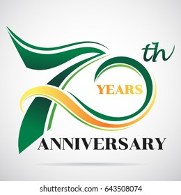70 years anniversary celebration logo design with decorative ribbon or banner. Happy birthday design of 70th years anniversary celebration.
