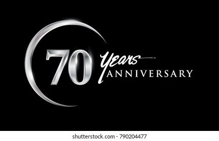 70 years anniversary celebration. Anniversary logo with silver ring elegant design isolated on black background, vector design for celebration, invitation card, and greeting card.