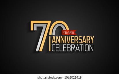 70 years anniversary celebration logotype. anniversary logo with golden and silver color and red ribbon isolated on black background, vector design for celebration, invitation card, and greeting card