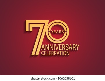 70 years anniversary celebration logotype. anniversary logo with elegance golden color isolated on red background, vector design for celebration, invitation card, and greeting card