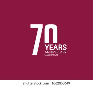 70 years anniversary celebration logotype. anniversary logo white color isolated on purple background, vector design for celebration, invitation card, and greeting card