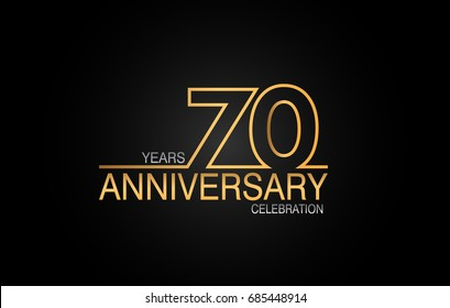 70 years anniversary celebration logotype. anniversary logo with golden and silver color isolated on black background, vector design for celebration, invitation card, and greeting card