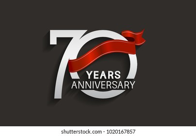 70 years anniversary design with silver color and red ribbon isolated on black background for celebration event