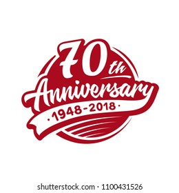 70 years anniversary design template. Vector and illustration. 70th logo.