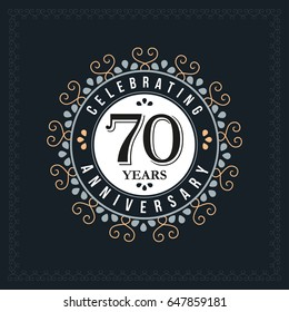 70 years anniversary design template. Vector and illustration. celebration anniversary logo. classic, vintage style