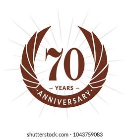 70 years anniversary. Elegant anniversary design. 70 years logo.