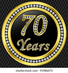 70 years anniversary golden icon with diamonds, vector illustration