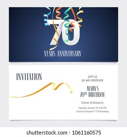 70 years anniversary invitation to celebrate the event vector illustration. Design template element with number and text for 70th birthday card, party invite