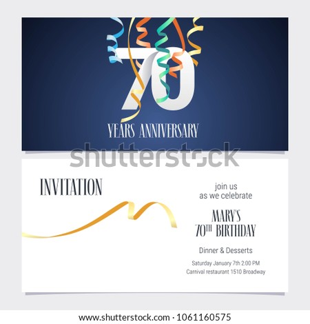 70 Years Anniversary Invitation To Celebrate The Event Vector Illustration Design Template Element With Number And Text For 70th Birthday Card Party