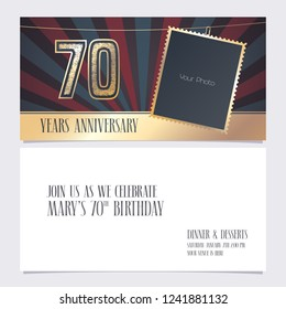 70 years anniversary invitation vector illustration. Graphic design element with photo frame  for 70th birthday card, party invite
