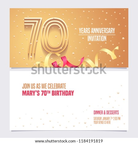 70 Years Anniversary Invitation Vector Illustration Design Element With Golden Abstract Background For 70th Birthday Card Party Invite