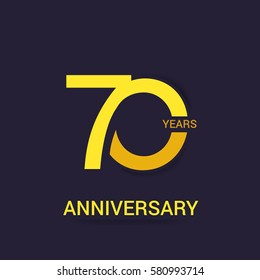 70 Years Anniversary  Logo Celebration,Yellow Flat Design Isolated on Purple Background
