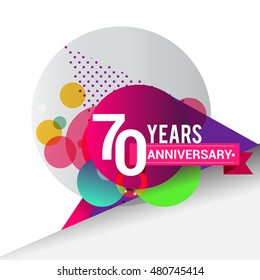 70 years Anniversary logo, Colorful geometric background vector design template elements for your birthday celebration.