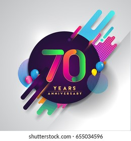 70 years Anniversary logo with colorful abstract background, vector design template elements for invitation card and poster your birthday celebration.