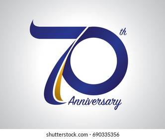 70th Birthday Card 70 Years Anniversary Logo Design With Blue And Old Yellow Color
