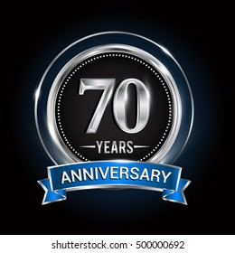 70 years anniversary logo with silver ring and blue ribbon, Vector design.