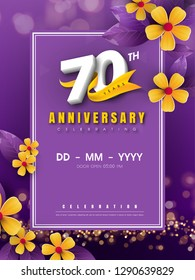 70 years anniversary logo template on golden flower and purple background. 70th celebrating white numbers with gold ribbon vector and bokeh design elements, anniversary invitation template card design